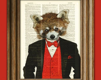 Ling the Red Panda illustration beautifully upcycled dictionary page book art print