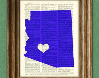 My Heart is in Arizona state map awesome upcycled vintage dictionary page book art print