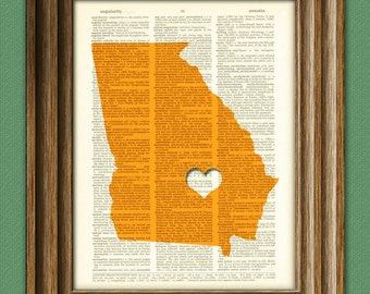 My Heart is in Georgia state map awesome upcycled vintage dictionary page book art print
