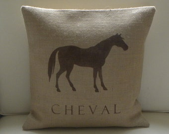 Burlap (hessian) French Horse Cheval pillow cover
