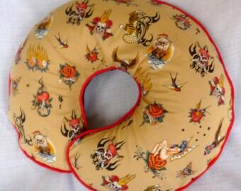 Boppy Pillow Cover Nursing Pillow Cover Tan Tattoo Skin Deep by Alexander Henry
