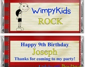 Wimpy Kid Book Birthday Party Candy Bar Wrapper Party Favor