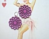 purple Earrings, wood cut earrings, petite atomic purple earrings