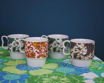 Vintage Set of 4 Ceramic Paisley Print Mugs