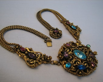 Stunning Hungarian Art NOUVEAU Deco Multi Strand FILIGREE  Vibrant Color Czech Glass Vintage Necklace