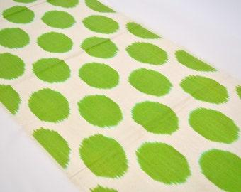 polka dot ikat, green ikat fabric, ikat fabric, ikat fabric by the yard, uzbek ikat,  uzbekistan textiles, upholstery fabric, uzbek