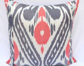 IKAT PILLOW cover 20 x 20, gray red ikat pillow cover