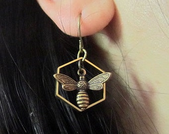 Bee my home -  Hexagon with bee dangle angique bronze spring earring