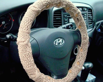 SALE Knit Steering Wheel Cover (Tan) with safety rubber backing - machine washable