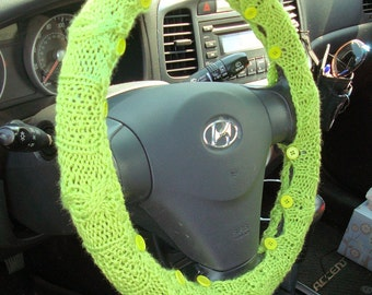 CLEARANCE SALE Bright Lime Green Knit Steering Wheel Cover with safety rubber backing