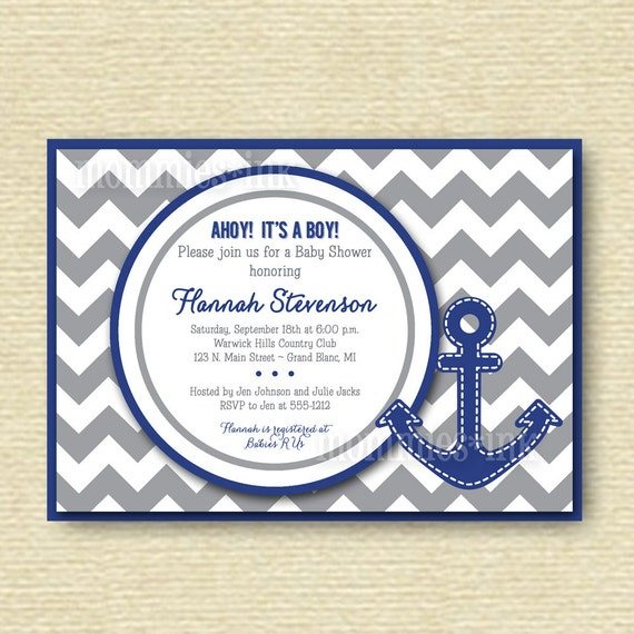 anchor baby shower invitation gray and blue printable invitation