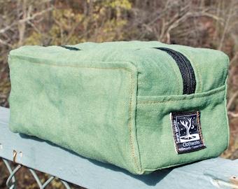 Shaving Kit Hemp Canvas Antique Green Eco Friendly