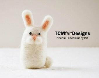 Kit, Needle Felted Bunny, wool complete animal fiber kit for beginners