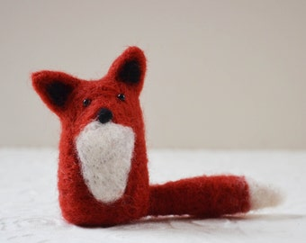 Foxkitts, needle felted red fox animal fiber art