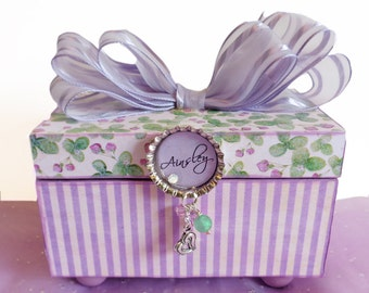 Trinket Jewelry Box Personalized Bottle Cap English Lavender with Silver Heart