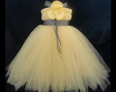 Grey Yellow Flower Girl Dress