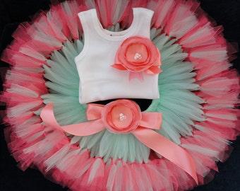 Birthday Tutu | 1st Birthday Tutu Dress | Baby Birthday Tutu | Cake Smash Tutu | Tutu Skirt | Mint and Coral Tutu Dress