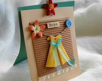 Gift Card, Inspirational Card, Origami Dress Card,  Paper Dress, Aqua Yellow, Hope