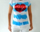 Hand Dye Blue Striped Ahoy Tee , Nautical Women T Shirt ,  hand stenciled red heart Size M/L