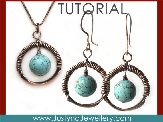 Wire Wrapping Jewelry Tutorial, Wire Earrings Tutorial, Wire Jewelry Tutorial, Circular Earrings PDF Tutorial, Circular Pendant Tutorial