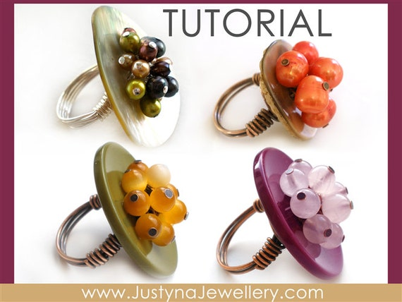 Button Ring Tutorial, Button Jewelry Tutorial, Button Pattern, Wire Ring Tutorial, Cocktail Ring Pattern, Button Instructions, Buttons