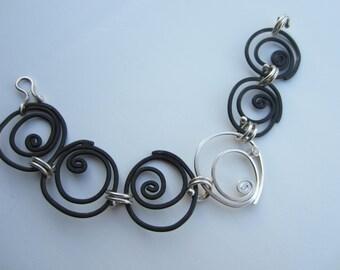 Steel and Sterling rose bracelet