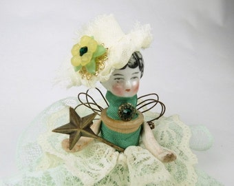 "Assemblage Angel ""Lacy Mint Green""  Assemblage Art Doll, Antique Doll Parts, Vintage Style Art Doll"