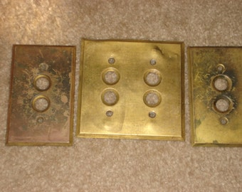 Lot of 3 Vintage Push Button Light Switch Covers