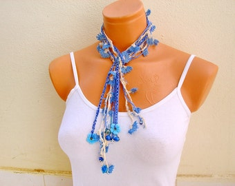 Blue Crochet Necklace, Multistrand long lariat Necklace ecofriendly jewelry crochet flowers