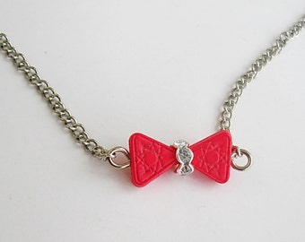 Minimailist bow tie Valentine's gift,  Bow Necklace for girl, tiny  teen girl necklaces