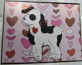 Puppy Valentine Greeting Card , Handmade