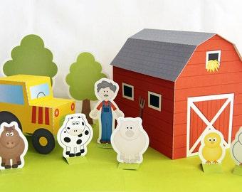 Printable farm - PDF paper craft