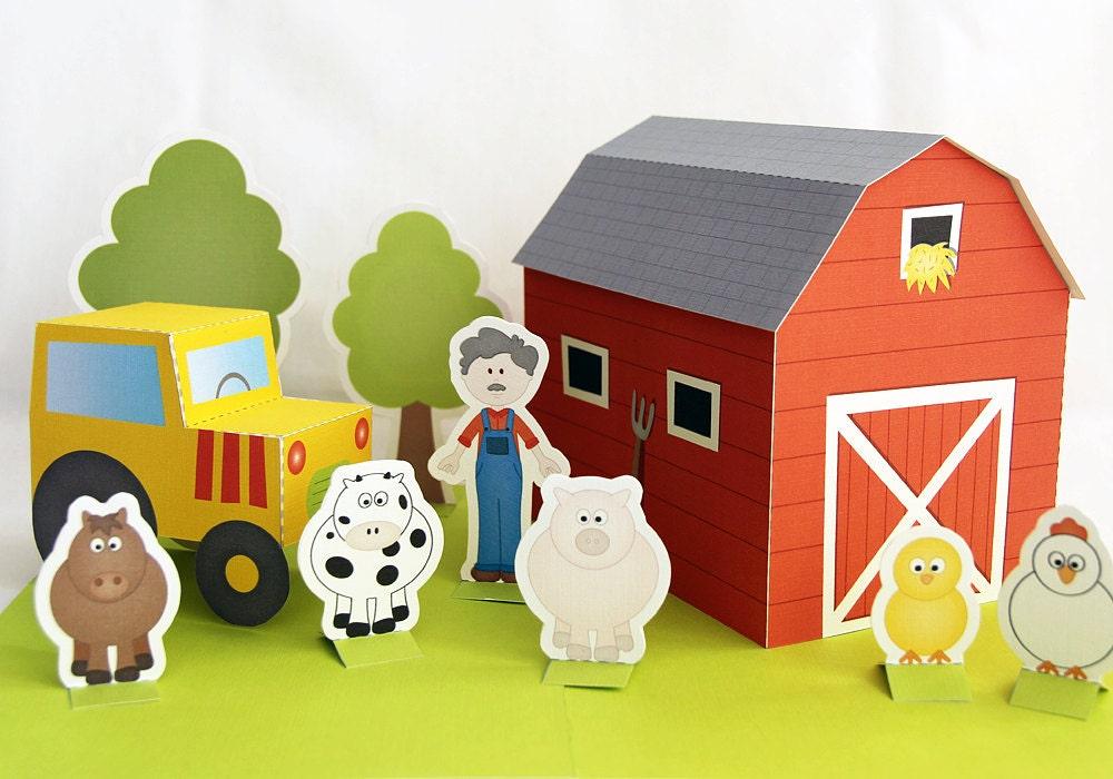 Printable farm PDF paper craft