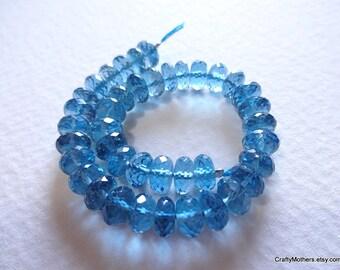 29% SALE! (Code: FROSTY) London Blue Topaz Faceted Rondelles Beads, 5.8-6mm diameter, luxe gemstone, Mediterranean teal, bridal jewelry