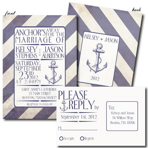 Nautical Themed Wedding Invitations: Items Similar To Nautical Themed Wedding Invitation Set