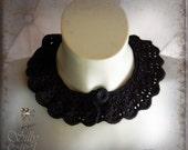 crochet collar - gothic, victorian, romantic, mourning, elegant, black, secretary, evening wear, scalloped edge