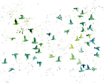 flock birds  -Watercolor-bird painting-Archival Print from my original watercolor painting 11x14 inch