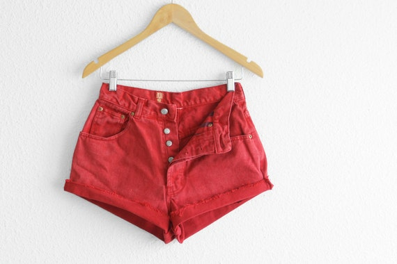 Red High Waisted Denim Shorts Red ShortsVintage Red High