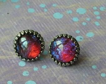 Fire Opal Earrings, Dragon Breath Earrings, Back to school, Fall Styles, Weddings, Opal Earrings, Mexican Fire Opal, August gifts, gifts
