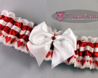 Red & White Hearts and Satin Garter - SugarKitty Couture