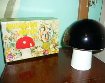 Vintage Black and White Mushroom Mirror still in original package