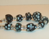 9 Black Antique Venetian Skunk or Thousand eye African trade beads