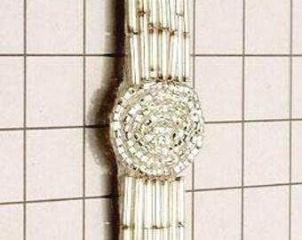 """FS910B  Silver Beaded Applique 5"""" (FS910B-sl)"""