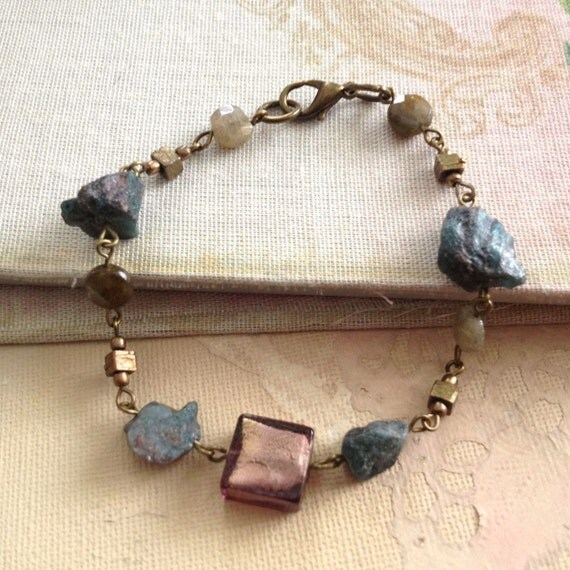Healing Stone Bracelet Apatite Labradorite Gemstone Jewelry Blue Purple Meditation, Inner Vision