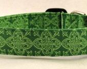 Lucky Irish Celtic Cross Medallions Green Dog Collar