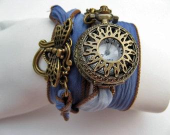 Sale - Wrap Around Silk Ribbon Pocket Watch - Wrap Watch - Bronze Sunburst Wrist Watch - Womens Watch - Dragonfly Clasp - Watch - (Adjusts)
