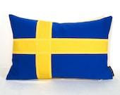Swedish Flag Pillow Cover - Sweden - Decorative Blue Yellow Gold - Flagga Svensk - Mazizmuse - Sunbrella Cushion 12X18 inch