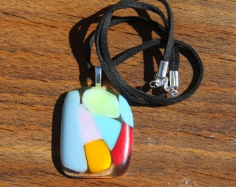 Fused Glass Pendant - Rainbow Mosaic