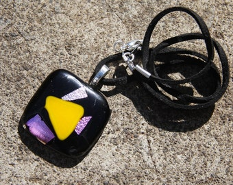 Fused Glass Pendant - Dichroic Pink Black and Yellow Mosaic