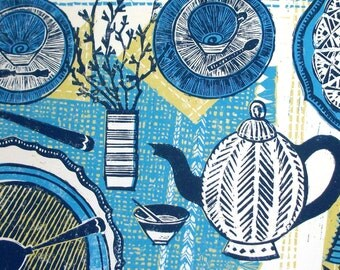 Table top original linocut print.